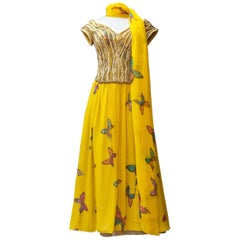 Hanae Mori Haute Couture yellow silk long evening dress with butterflies