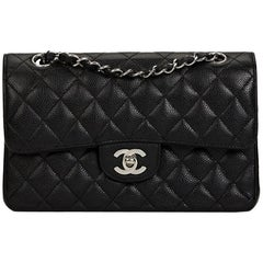 2005 Chanel Black Quilted Caviar Leather Small Classic Double Flap