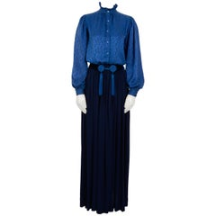 "Yves Saint Laurent "" Rive Gauche "" Silk Two Piece Set With Tassel Belt Included"