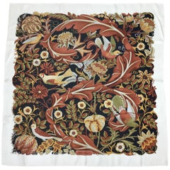 Ferragamo Bird Themed Silk Twill Scarf. Rich Autumn/Winter Palette. 1980's.