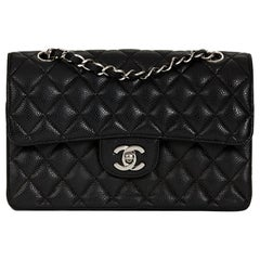 2008 Chanel Black Quilted Caviar Leather Small Classic Double Flap