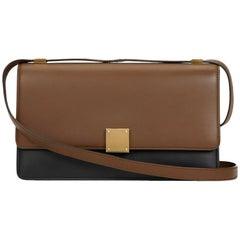 2012 Céline Brown & Black Calfskin Leather Bi-Colour Medium Case Flap Bag