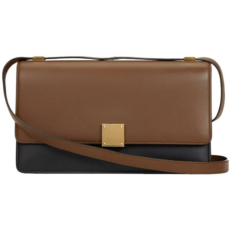 2012 Céline Brown & Black Calfskin Leather Bi-Colour Medium Case Flap Bag