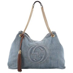 Gucci Soho Shoulder Bag Chain Strap Denim Large