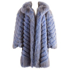Bejamin Fourrures 1980 powder blue fox fur oversized coat