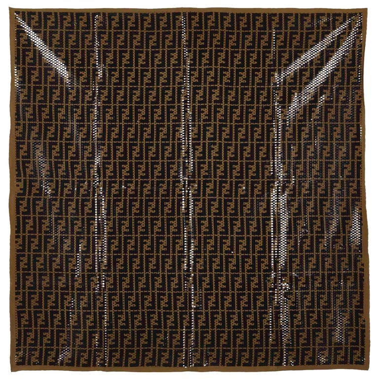 Fendi Polka Dotted Zucca Pattern Silk Scarf At 1stdibs