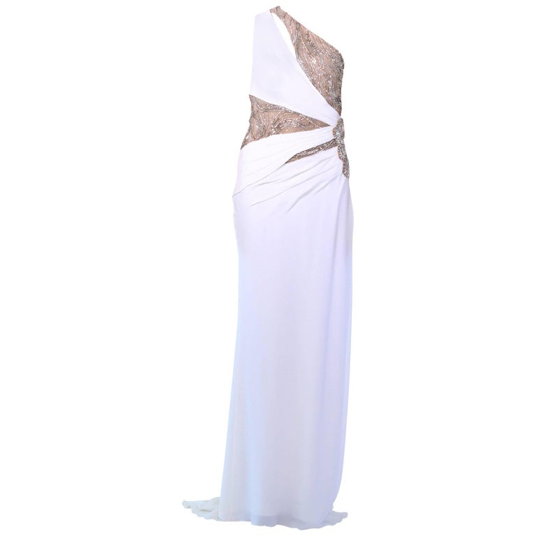 New Versace Crystal Embellished White Silk Gown 1