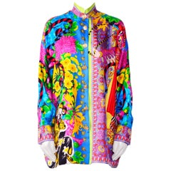 Gianni Versace Couture Atelier Vintage Silk Print Oversized Blouse