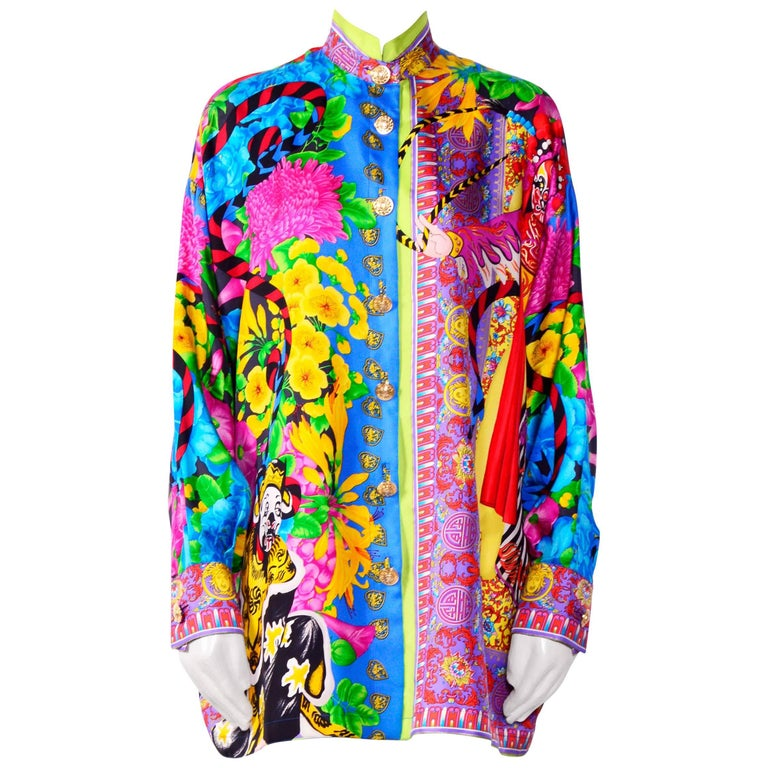 Gianni Versace Couture Atelier Vintage Silk Print Oversized Blouse For Sale