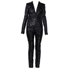 Versace Black Patchwork Leather Pant Suit