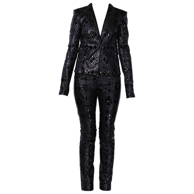 Versace Black Patchwork Leather Pant Suit For Sale