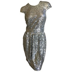 Naeem Khan Silver Sequin Cap Sleeve Cocktail Dress