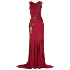 F/W 2014 Look # 49 VERSACE BURGUNDY RED GOWN