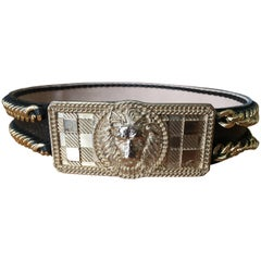 Balmain Black Gold Chain Accented Belt with Lion Head Buckle