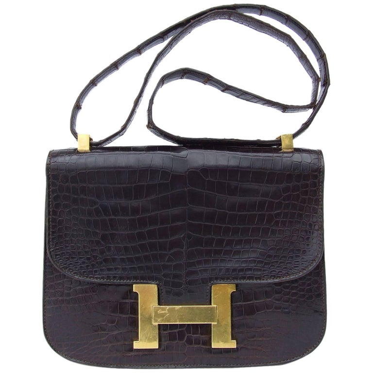 Hermes Vintage Constance H Bag Brown Crocodile Gold Hdw 23 cm