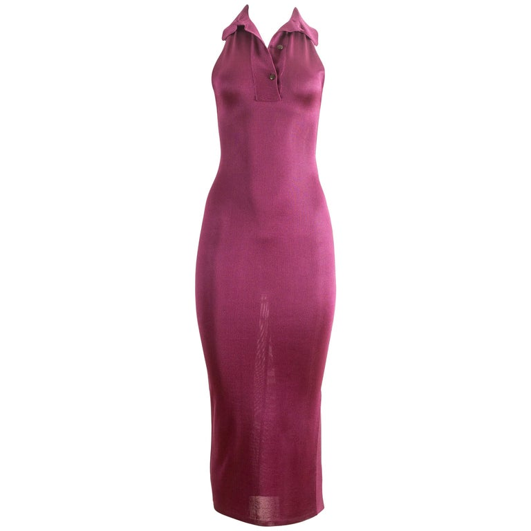 Alaia Spring-Summer 1986 magenta acetate knit bodycon dress