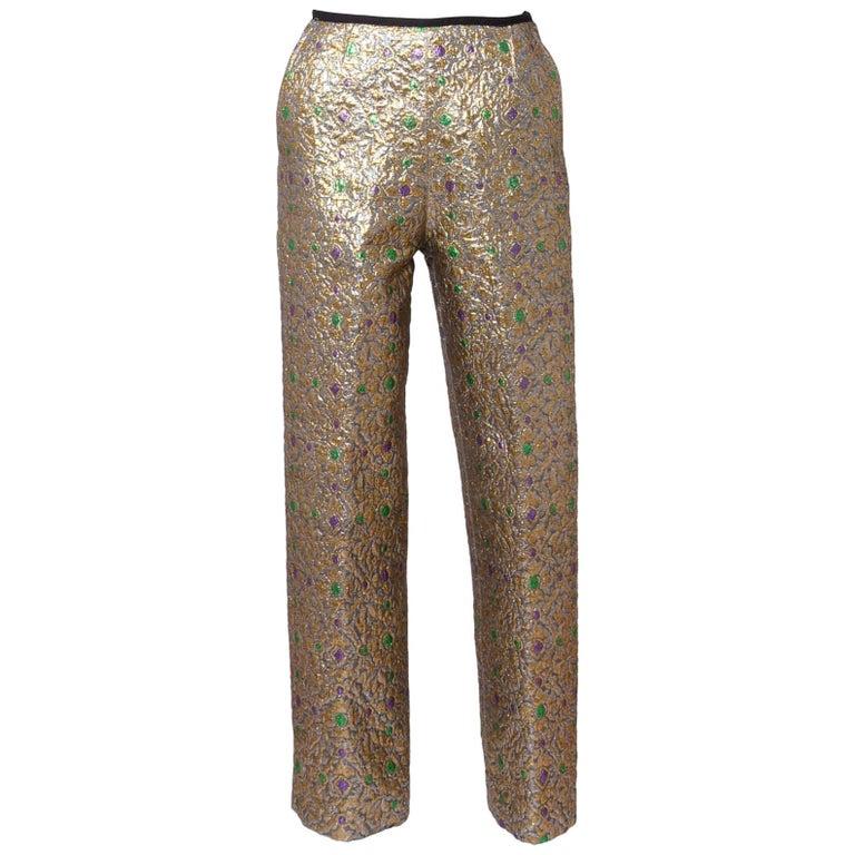 "Yves Saint Laurent "" Rive Gauche "" Silk Brocade Trousers"