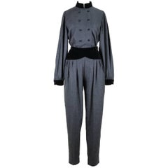 Nina Ricci Paris 1970s Grey Wool Black Velvet Blouse & Trousers Ensemble Set