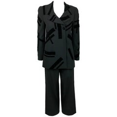 1998 Chanel Black Wool Trouser Suit With Velvet Details