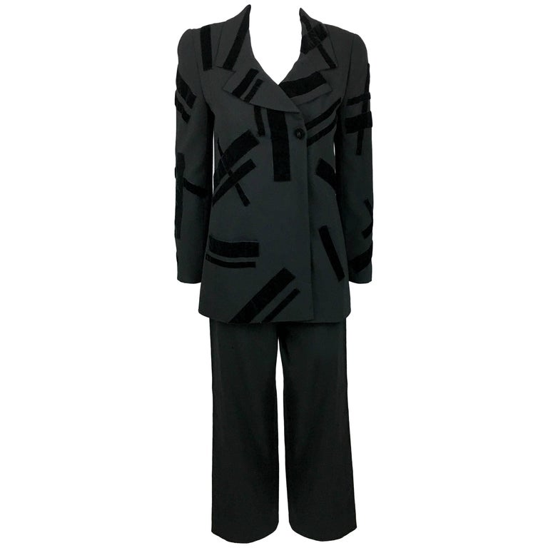1998 Chanel Black Wool Trouser Suit With Velvet Details For Sale
