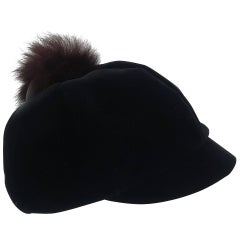 Mod C.1960 Black Velvet Cap With Fur Pom Pom