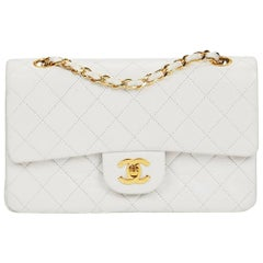 1990s Chanel White Quilted Lambskin Vintage Small Classic Double Flap Bag