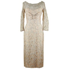 Norman 1950s Nude Champagne Floral Lace Sheath Illusion Dress With Bow Detailing