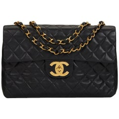 1996 Chanel Black Quilted Lambskin Vintage Maxi Jumbo XL Flap Bag