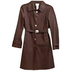 Celine Brown Cotton Blend Trench Coat Sz IT40