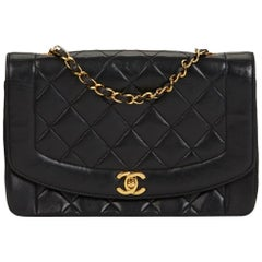1990s Chanel Black Quilted Lambskin Medium Diana Classic Single Flap Bag