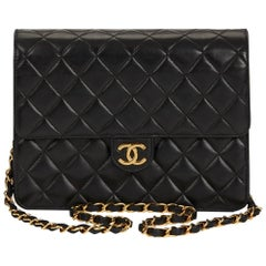 1990s Chanel Black Quilted Lambskin Classic Single Flap Bag