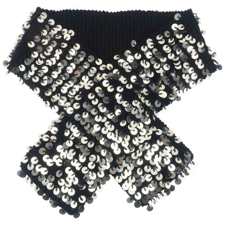 Glam C.2000 Black Wool Neck Scarf With Metal Medallions