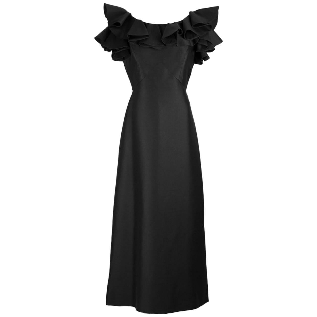 Swanson's On The Plaza Black Evening Dress Gown With Ruffled Collar And Slit