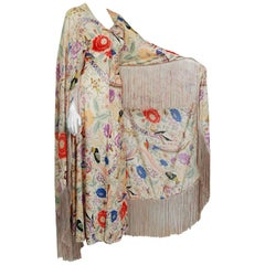 1971 Missoni Couture Colorful Floral Bird Print Silk-Jersey Fringe Caftan Gown