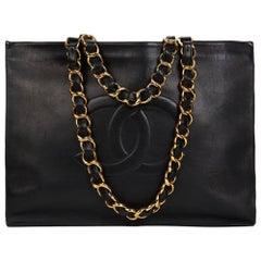 1990s Chanel Black Lambskin Leather Vintage Timeless Shoulder Tote