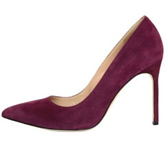 Manolo Blahnik Burgundy Suede BB Pumps Sz 38 with Box and DB