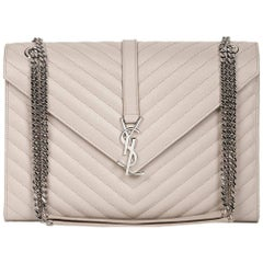 2016 Saint Laurent Icy White Chevron Quilted Grained Calfskin Leather Envelope