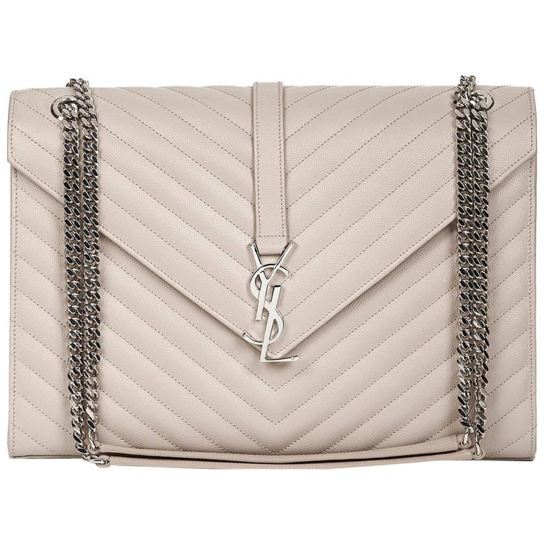 2016 Saint Laurent Icy White Chevron Quilted Grained Calfskin Leather Envelope  For Sale