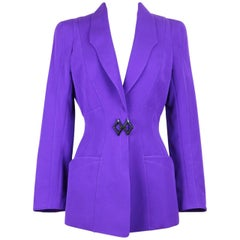 Thierry Mugler Paris 1980s Vibrant Purple Wool Fitted Jacket Blazer