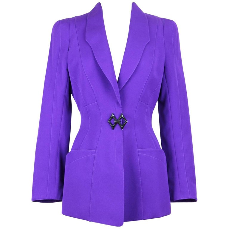 Thierry Mugler Paris 1980s Vibrant Purple Wool Fitted Jacket Blazer 1