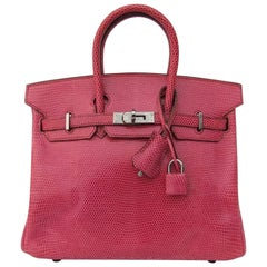 HERMES Birkin bag Fuchsia Pink Lizard Silver HDW 25 cm Rare and Coveted