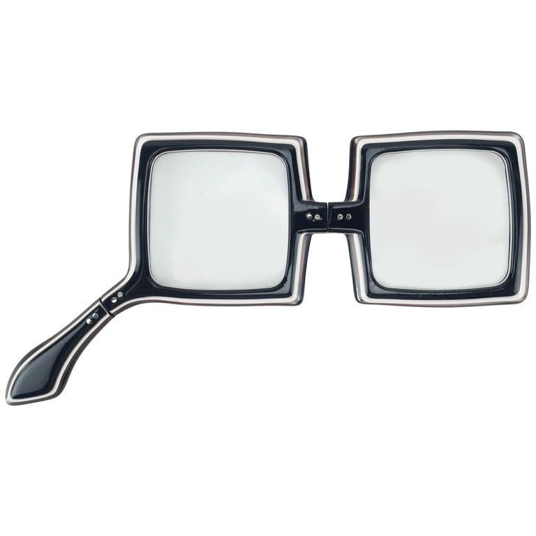 Mod 1970's Black & White Lorgnette Foldable Eyeglasses