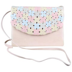 Andrea Pfister 1980s Pale Pink Leather Clutch Shoulder Bag With Pastel Blossoms