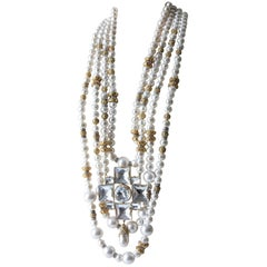 1980s Runway 4-Strand Pearl Rope Necklace w Large Faceted Glass Cross