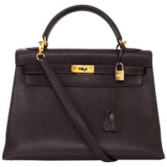 Hermes Brown Chevre Leather 32cm Sellier Rigid Kelly Bag with DB