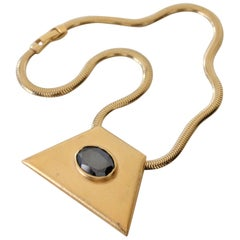 1980s YSL Egyptian-Inspired Brushed Gold-Tone Pendant w Hematite and Chain