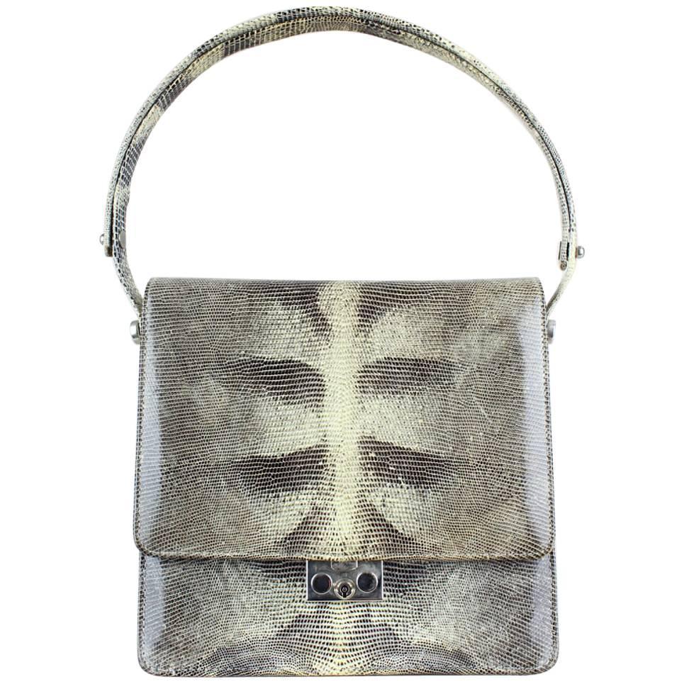 1960s Grey Cream Lizard Pattern Top Handle Handbag With Silver Hardware