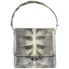 1960s Grey Cream Lizard Pattern Top Handle Handbag With Silver Hardware