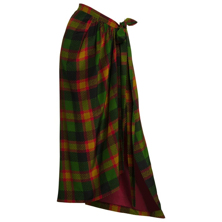 1990s  Yves Saint Laurent Silk Plaid Maxi Wrap Sash Skirt Vintage YSL For Sale