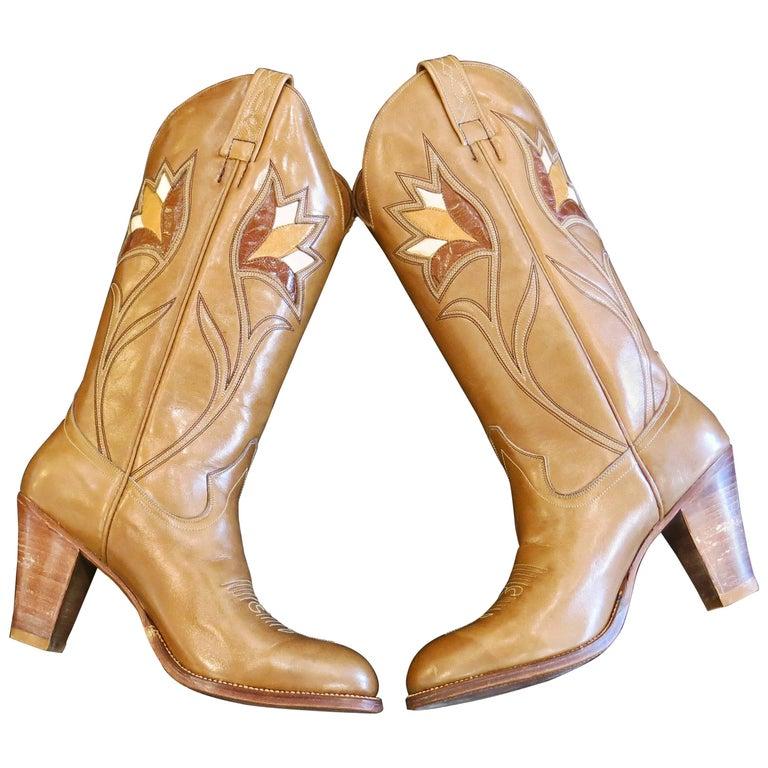1970s Deadstock Dan Post Inlay Boots
